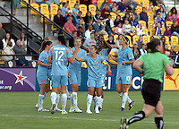 Sky Blue FC celebrates the Atlanta Beat own goal that proved to be the difference in the teams' match that debuted the new, soccer-specific Atlanta Beat/KSY Soccer Stadium.