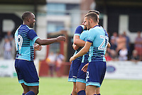 Sam Wood of Wycombe Wanderers (11) is congratulated by his team mates after he hits the ball into the top corner of the goal to make it 1-4 during the Friendly match between Maidenhead United and Wycombe Wanderers at York Road, Maidenhead, England on 30 July 2016. Photo by Alan  Stanford PRiME Media Images.