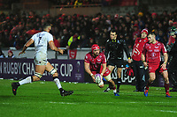 Josh Macleod of Scarlets in action during the European Rugby Challenge Cup Round 5 match between the Scarlets and RC Toulon at the Parc Y Scarlets in Llanelli, Wales, UK. Saturday January 11 2020
