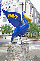 Brightly painted pelican public art Pensacola Florida