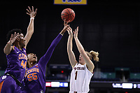 GREENSBORO, NC - MARCH 6: Tylar Bennett #55 of Clemson University blocks a shot by Cameron Swartz #1 of Boston College during a game between Clemson and Boston College at Greensboro Coliseum on March 6, 2020 in Greensboro, North Carolina.