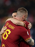 Football, Serie A: AS Roma - Parma, Olympic stadium, Rome, May 26, 2019. <br /> Roma's Daniele De Rossi (l) is congratulated by his teammate Alessandro Florenzi (r) during his farewell to Roma after 18 years at his home-town club at the end of the Italian Serie A football match between Roma and Parma at Olympic stadium in Rome, on May 26, 2019.<br /> UPDATE IMAGES PRESS/Isabella Bonotto