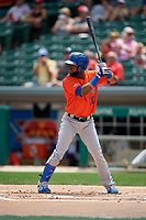 Syracuse Mets Arismendy Alcantara (10) bats during an International League game against the Indianapolis Indians on July 17, 2019 at Victory Field in Indianapolis, Indiana.  Syracuse defeated Indianapolis 15-5  (Mike Janes/Four Seam Images)