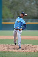 Tampa Bay Rays relief pitcher Angel Felipe (98) delivers a pitch during an Instructional League game against the Pittsburgh Pirates on October 3, 2017 at Pirate City in Bradenton, Florida.  (Mike Janes/Four Seam Images)