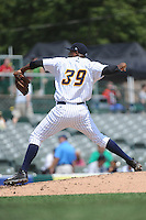 Trenton Thunder pitcher Jairo Heredia (39) during game against the Binghamton Mets at ARM & HAMMER Park on July 27, 2014 in Trenton, NJ.  Trenton defeated Binghamton 7-3.  (Tomasso DeRosa/Four Seam Images)