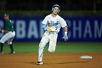 Logan Warmoth (7) of the North Carolina Tar Heels hustles towards third base against the Miami Hurricanes in the second semifinal of the 2017 ACC Baseball Championship at Louisville Slugger Field on May 27, 2017 in Louisville, Kentucky. The Tar Heels defeated the Hurricanes 12-4. (Brian Westerholt/Four Seam Images)