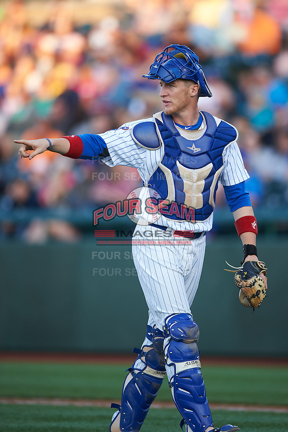 South Bend Cubs catcher Cael Brockmeyer (9) during a game against the Cedar Rapids Kernels on June 5, 2015 at Four Winds Field in South Bend, Indiana.  South Bend defeated Cedar Rapids 9-4.  (Mike Janes/Four Seam Images)