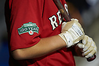 A close-up of the Fenway Park 100th Anniversary patch on the right sleeve of the Boston Red Sox scout team jerseys during the South Atlantic Border Battle Futures Game at Truist Point on September 25, 2020 in High Pont, NC. (Brian Westerholt/Four Seam Images)