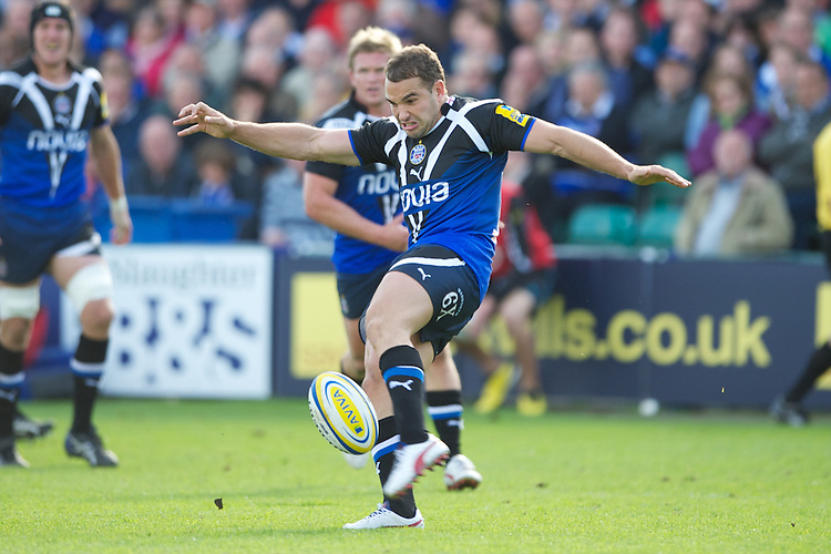 Olly Barkley of Bath Rugby clears his lines during the Aviva Premiership match between Bath Rugby and Sale Sharks at the Recreation Ground on Saturday 29th September 2012 (Photo by Rob Munro)