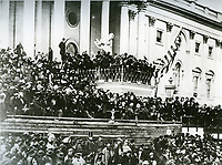 Abraham Lincoln delivers his second Inaugural address on March 4, 1865.<br /> <br /> Photo by Architect of the Capitol photographers.