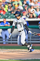 Biloxi Shuckers third baseman Angel Ortega (2) swings at a pitch during a game against the Tennessee Smokies at Smokies Stadium on May 26, 2017 in Kodak, Tennessee. The Smokies defeated the Shuckers 3-2. (Tony Farlow/Four Seam Images)