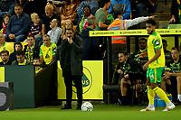 21st September 2021; Carrow Road, Norwich, England; EFL Cup Footballl Norwich City versus Liverpool; A dejected Norwich City Manager Daniel Farke