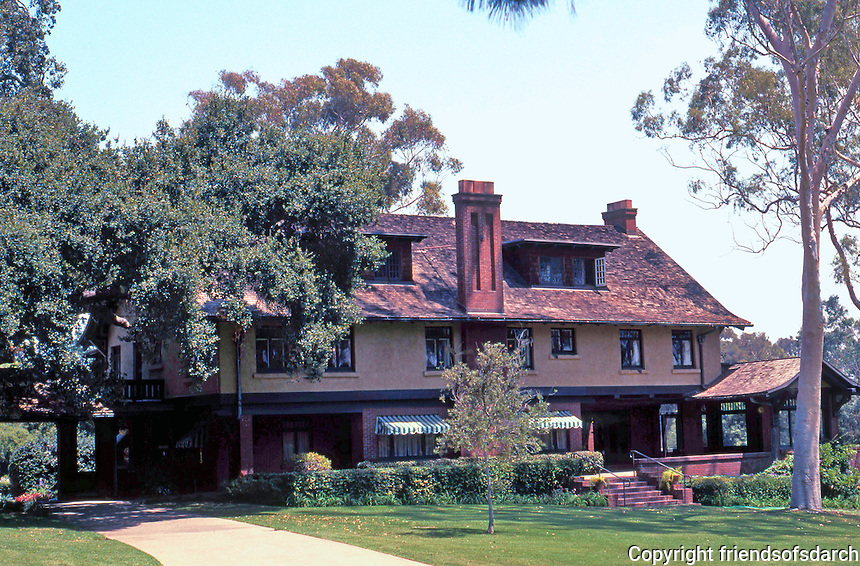 """Irving Gill: George Marston House, 1904-05. 3525 7th Ave. Was to be half-timbered but """"drastically simplified."""" (Photo 2000)"""