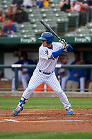 South Bend Cubs Tyler Durna (27) at bat during a Midwest League game against the Cedar Rapids Kernels at Four Winds Field on May 8, 2019 in South Bend, Indiana. South Bend defeated Cedar Rapids 2-1. (Zachary Lucy/Four Seam Images)