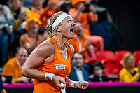 The Hague, The Netherlands, Februari 7, 2020,    Sportcampus, FedCup  Netherlands -  Balarus, Seccond match on friday:  Kiki Bertens puts The Netherlands in the lead 1-0 and celebrates.<br /> Photo: Tennisimages/Henk Koster