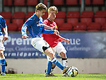 St Johnstone Academy v Manchester United Academy....17.04.15   <br /> Cameron Lumsden tackles Kieran Freeman<br /> Picture by Graeme Hart.<br /> Copyright Perthshire Picture Agency<br /> Tel: 01738 623350  Mobile: 07990 594431