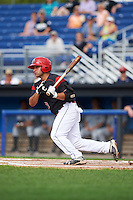 Batavia Muckdogs first baseman Eric Gutierrez (43) at bat during a game against the Hudson Valley Renegades on July 31, 2016 at Dwyer Stadium in Batavia, New York.  Hudson Valley defeated Batavia 4-1. (Mike Janes/Four Seam Images)