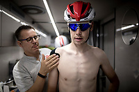 Harm Vanhoucke (BEL/Lotto-Soudal) on the teambus at the stage start, prepping for Stage 14: San Vicente de la Barquer to Oviedo (188km)<br /> <br /> La Vuelta 2019<br /> <br /> ©kramon