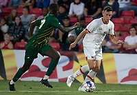 COLLEGE PARK, MD - SEPTEMBER 3: George Mason University defender Jonathan Fawole (27) moves up on Maryland University forward Justin Gielen (9) during a game between George Mason University and University of Maryland at Ludwig Field on September 3, 2021 in College Park, Maryland.