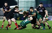 27th December 2020 | Connacht  vs Ulster <br /> <br /> Jordi Murphy is tackled by Caolin Blade and Jarrad Butler during the Guinness PRO14 match between Connacht and Ulster at The Sportsground in Galway. Photo by John Dickson/Dicksondigital