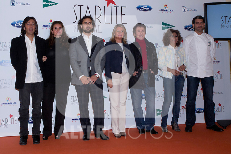 08.05.2012. Presentation of the Starlite Festival in the Casino de Madrid in the presence of some of the protagonists artists as Raphael, Lolita and Antonio Carmona, Paco Roncero for Bulli Catering, the Mayor of Marbella Ángeles Muñoz Uriol and producers of the project Sandra Garcia-Sanjuan and Ignacio Maluquer. The Starlite Festival will be held in Marbella from 13 July to 14 August. In the picture: Antonio Carmona, Sandra Garcia-Sanjuan, Ignacio Maluquer, Ángeles Muñoz Uriol, Raphael,  Lolita, Paco Roncero (Alterphotos/Marta Gonzalez)