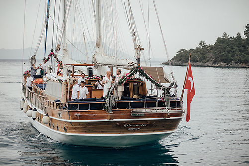 Turkish gulet Salamander coming alongside gulet Aganippe in preparation for the wedding ceremony