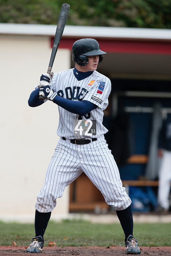 23 October 2010: Kenji Hagiwara of Rouen is seen at bat during Savigny 8-7 win (in 12 innings) over Rouen, during game 3 of the French championship finals, in Rouen, France.