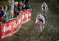 lap 1: Katie Compton (USA), followed by Marianne Vos (NLD) immediatly leave a big gap for the competition<br /> <br /> GP Sven Nys 2014
