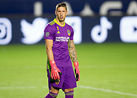 CARSON, CA - SEPTEMBER 19: David Bingham #1 GK of the Los Angeles Galaxy readies himself for a corner kick during a game between Colorado Rapids and Los Angeles Galaxy at Dignity Heath Sports Park on September 19, 2020 in Carson, California.