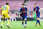Lionel Andres Messi of FC Barcelona (C) in action during the La Liga 2017-18 match between FC Barcelona and Las Palmas at Camp Nou on 01 October 2017 in Barcelona, Spain. (Photo by Vicens Gimenez / Power Sport Images