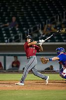 AZL Diamondbacks left fielder Didimo Bracho (9) follows through on his swing against the AZL Cubs on August 11, 2017 at Sloan Park in Mesa, Arizona. AZL Cubs defeated the AZL Diamondbacks 7-3. (Zachary Lucy/Four Seam Images)