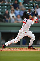 Designated hitter Tucker Tubbs (33) the Greenville Drive bats in a game against the Lexington Legends on Wednesday, April 12, 2017, at Fluor Field at the West End in Greenville, South Carolina. Greenville won, 4-1. (Tom Priddy/Four Seam Images)