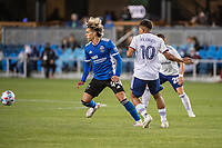 SAN JOSE, CA - MAY 01: Cade Cowell #44 of the San Jose Earthquakes intercepts Edison Flores #10 of DC United during a game between San Jose Earthquakes and D.C. United at PayPal Park on May 01, 2021 in San Jose, California.