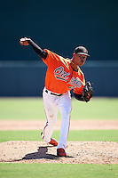 Baltimore Orioles pitcher Jhon Peluffo (47) during an Instructional League game against the Boston Red Sox on September 22, 2016 at the Ed Smith Stadium in Sarasota, Florida.  (Mike Janes/Four Seam Images)