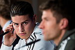 Bayern Múnich James Rodriguez and Thomas Muller during press conference day before UEFA Champions League semi finals match between Real Madrid and Bayern Múnich at Santiago Bernabeu Stadium in Madrid, Spain. April 30, 2018. (ALTERPHOTOS/Borja B.Hojas)