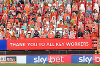 Below all the Charlton pop up fans is a message 'Thank You to All Key Workers' during Charlton Athletic vs Wigan Athletic, Sky Bet EFL Championship Football at The Valley on 18th July 2020