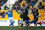 St Johnstone v Hibs...22.03.14    SPFL<br /> Stevie May's shot is saved by Sean Murdoch<br /> Picture by Graeme Hart.<br /> Copyright Perthshire Picture Agency<br /> Tel: 01738 623350  Mobile: 07990 594431