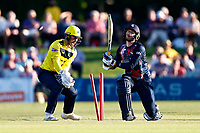Alex Blake of Kent is bowled by Mason Crane during Kent Spitfires vs Hampshire Hawks, Vitality Blast T20 Cricket at The Spitfire Ground on 9th June 2021