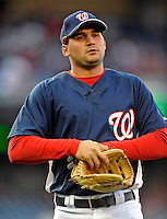 29 March 2008: Washington Nationals' third baseman Ryan Zimmerman walks back to the dugout during an exhibition game against the Baltimore Orioles at Nationals Park, in Washington, DC. The matchup was the first professional baseball game played in the new Nationals Park, prior to the upcoming official opening day inaugural game. The Nationals defeated the Orioles 3-0...Mandatory Photo Credit: Ed Wolfstein Photo