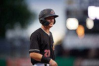 Batavia Muckdogs Troy Johnston (27) during a NY-Penn League Semifinal Playoff game against the Lowell Spinners on September 4, 2019 at Dwyer Stadium in Batavia, New York.  Batavia defeated Lowell 4-1.  (Mike Janes/Four Seam Images)