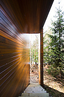 A flight of simple wooden steps descends past the polished clapboard wall of the property to the woodland floor below