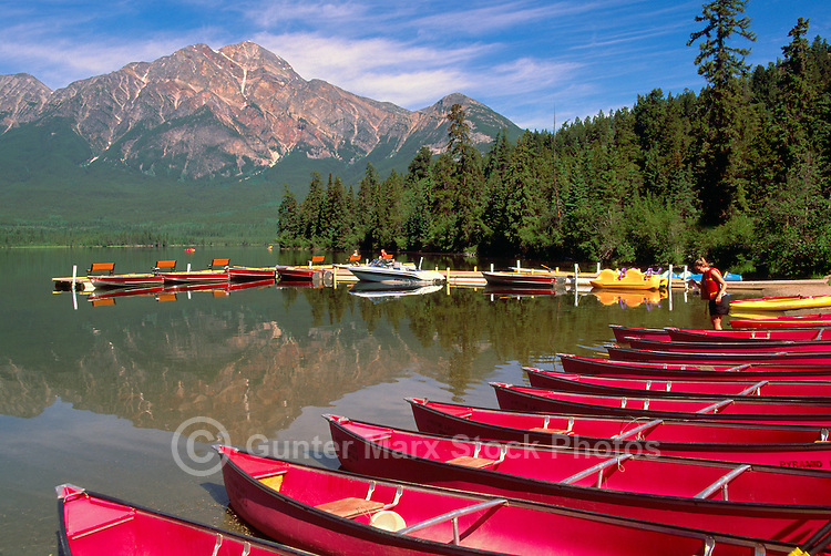 Jasper National Park, Pyramid Lake and Mountain, Canadian Rockies, Alberta, Canada - Canoe Boat Rental at Pyramid Lake near Jasper