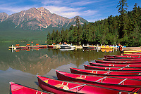 Jasper National Park, Pyramid Lake and Mountain, Canadian Rockies, Alberta, Canada - Canoe Boat Rental at Pyramid Lake near Jasper