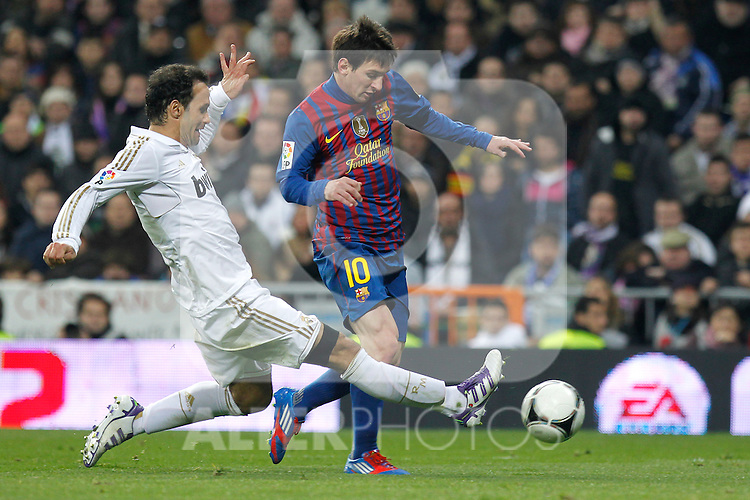 Real Madrid's Ricardo Carvalho and FC Barcelona's Lionel Messi during spanish King's Cup on January 18th 2012...Photo: Alex Cid-Fuentes / ALFAQUI