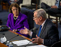 United States Senate Minority Whip Dick Durbin (Democrat of Illinois) makes remarks while colleague US Senator Dianne Feinstein (Democrat of California), Ranking Member, US Senate Judiciary Committee watch at left as the Senate Judiciary committee continues its hearing on the confirmation of Judge Amy Coney Barrett to the Supreme Court, in Washington, DC on October 15, 2020.<br /> Credit: Bill O'Leary / Pool via CNP /MediaPunch
