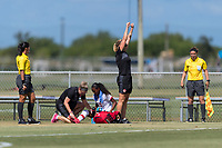 Bradenton, FL - Sunday, June 12, 2018: Referee, Canada Staff, Jayde Riviere prior to a U-17 Women's Championship 3rd place match between Canada and Haiti at IMG Academy. Canada defeated Haiti 2-1.
