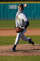Connor Brandon (36) of the University of Toledo Rockets pitches in a game against the University of South Carolina Upstate Spartans on Friday, February 19, 2021, at Cleveland S. Harley Park in Spartanburg, South Carolina. Upstate won, 14-2. (Tom Priddy/Four Seam Images)