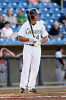 June 11th 2008:  Mark Thompson of the Lake County Captains, Class-A affiliate of the Cleveland Indians, during a game at Classic Park in Eastlake,OH.  Photo by:  Mike Janes/Four Seam Images