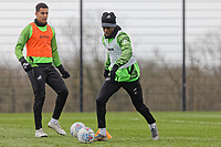 (L-R) Ben Cabango and Jordon Garrick in action during the Swansea City Training Session at The Fairwood Training Ground, Swansea, Wales, UK. Wednesday 11 March 2020