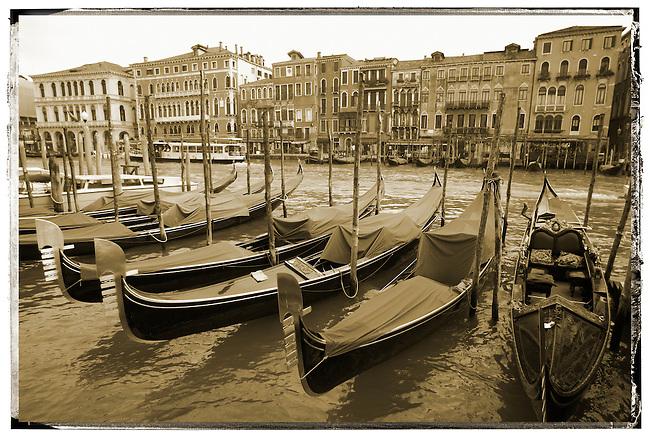 Gondolas in the early morning sun - Vnice Italy.